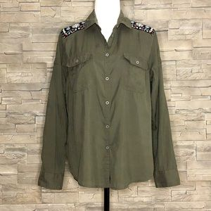 Topshop military green shirt with Aztec beading